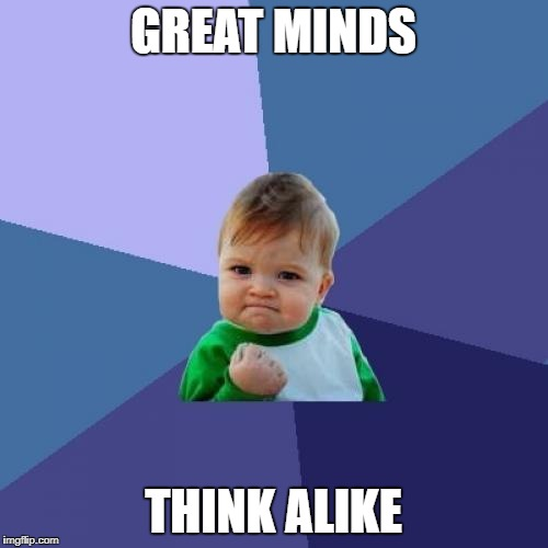 Success Kid Meme | GREAT MINDS THINK ALIKE | image tagged in memes,success kid | made w/ Imgflip meme maker