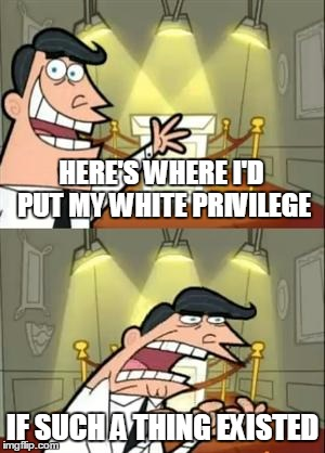 HERE'S WHERE I'D PUT MY WHITE PRIVILEGE IF SUCH A THING EXISTED | made w/ Imgflip meme maker