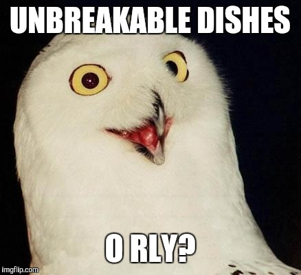 O RLY? | UNBREAKABLE DISHES O RLY? | image tagged in o rly | made w/ Imgflip meme maker