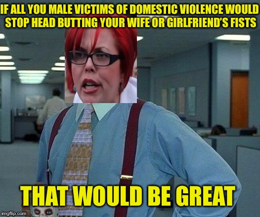 IF ALL YOU MALE VICTIMS OF DOMESTIC VIOLENCE WOULD STOP HEAD BUTTING YOUR WIFE OR GIRLFRIEND'S FISTS THAT WOULD BE GREAT | image tagged in feminist that would be great | made w/ Imgflip meme maker