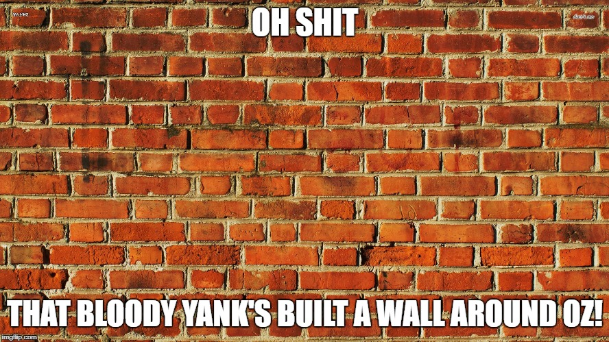 OH SHIT THAT BLOODY YANK'S BUILT A WALL AROUND OZ! | image tagged in australia's defence | made w/ Imgflip meme maker