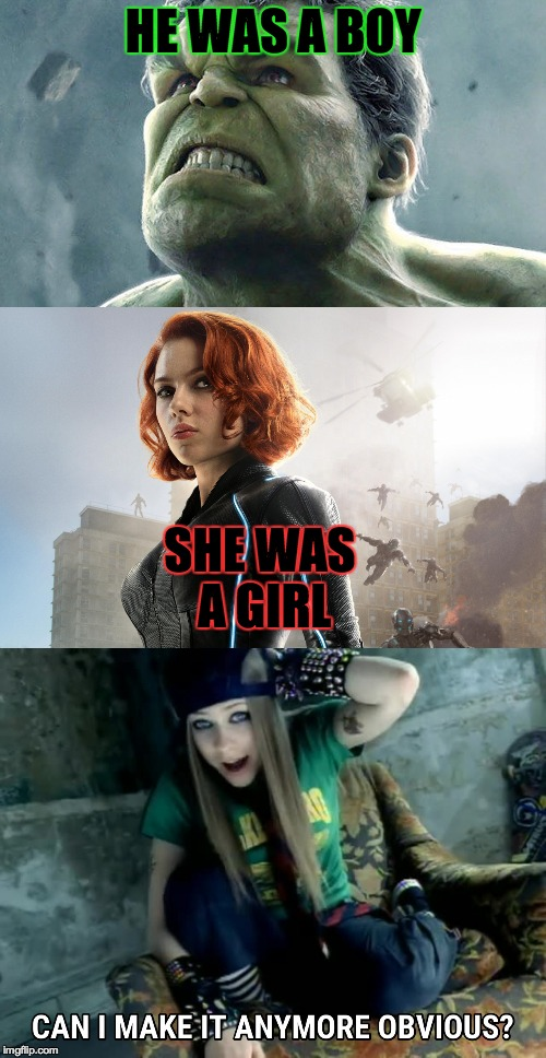 BruTasha | HE WAS A BOY SHE WAS A GIRL | image tagged in memes,funny,marvel,avengers,hulk,black widow | made w/ Imgflip meme maker