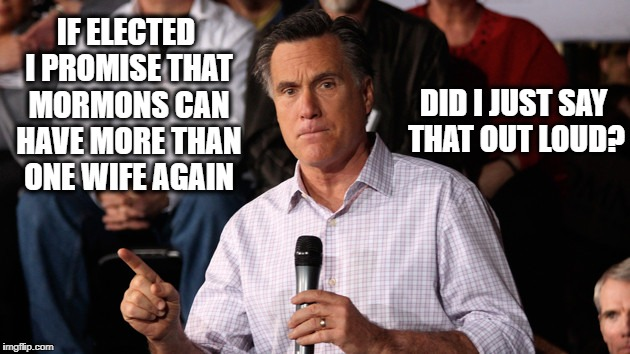 Mitt | IF ELECTED I PROMISE THAT MORMONS CAN HAVE MORE THAN ONE WIFE AGAIN DID I JUST SAY THAT OUT LOUD? | image tagged in mitt | made w/ Imgflip meme maker