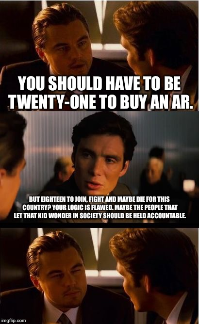 Inception Meme | YOU SHOULD HAVE TO BE TWENTY-ONE TO BUY AN AR. BUT EIGHTEEN TO JOIN, FIGHT AND MAYBE DIE FOR THIS COUNTRY? YOUR LOGIC IS FLAWED. MAYBE THE P | image tagged in memes,inception | made w/ Imgflip meme maker