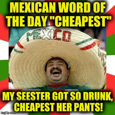 "MEXICAN WORD OF THE DAY ""CHEAPEST"" MY SEESTER GOT SO DRUNK, CHEAPEST HER PANTS! 
