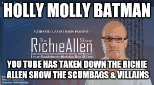 HOLLY MOLLY BATMAN YOU TUBE HAS TAKEN DOWN THE RICHIE ALLEN SHOW THE SCUMBAGS & VILLAINS | image tagged in government corruption | made w/ Imgflip meme maker