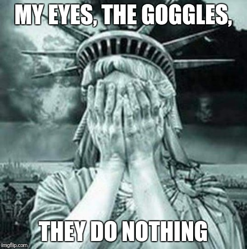 The Statue Of Liberty Weeps | MY EYES, THE GOGGLES, THEY DO NOTHING | image tagged in the statue of liberty weeps | made w/ Imgflip meme maker