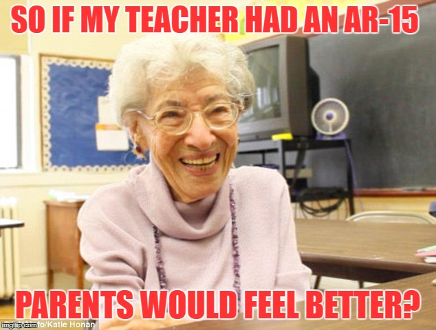 SO IF MY TEACHER HAD AN AR-15 PARENTS WOULD FEEL BETTER? | image tagged in old teacher,guns,school shooting | made w/ Imgflip meme maker