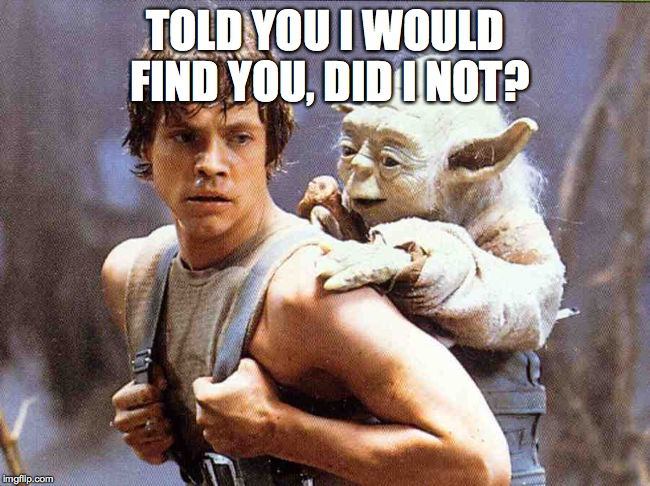 Luke And Yoda | TOLD YOU I WOULD FIND YOU, DID I NOT? | image tagged in luke and yoda | made w/ Imgflip meme maker
