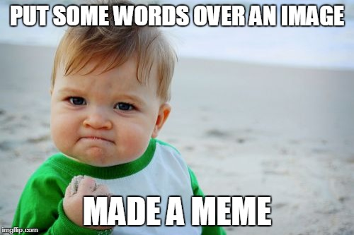 Success Kid Original Meme | PUT SOME WORDS OVER AN IMAGE MADE A MEME | image tagged in memes,success kid original | made w/ Imgflip meme maker