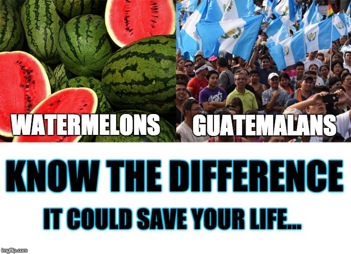 The Difference between Watermelons and Guatemalans | WATERMELONS GUATEMALANS KNOW THE DIFFERENCE IT COULD SAVE YOUR LIFE... | image tagged in know the difference,memes,funny,watermelons,guatemala,life | made w/ Imgflip meme maker