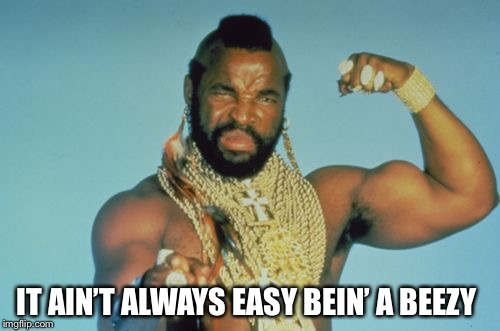 Mr T | IT AIN'T ALWAYS EASY BEIN' A BEEZY | image tagged in memes,mr t | made w/ Imgflip meme maker