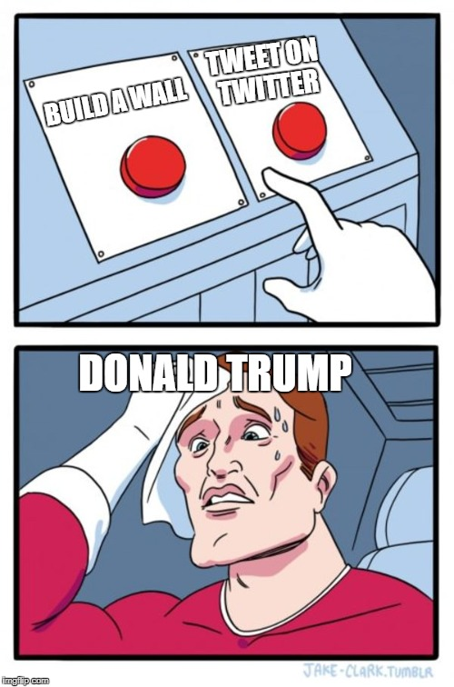 Two Buttons Meme | BUILD A WALL TWEET ON TWITTER DONALD TRUMP | image tagged in memes,two buttons | made w/ Imgflip meme maker