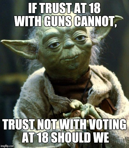 Yoda on pod eaters | IF TRUST AT 18 WITH GUNS CANNOT, TRUST NOT WITH VOTING AT 18 SHOULD WE | image tagged in memes,star wars yoda | made w/ Imgflip meme maker
