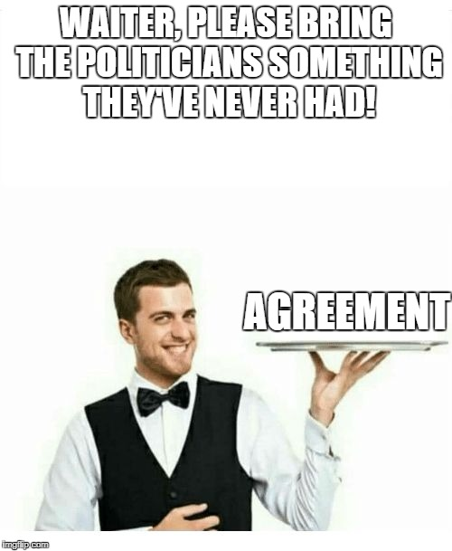 But what if they agree that they never agree on anything? | WAITER, PLEASE BRING THE POLITICIANS SOMETHING THEY'VE NEVER HAD! AGREEMENT | image tagged in memes,waiter,dank memes,funny,politics,political memes | made w/ Imgflip meme maker