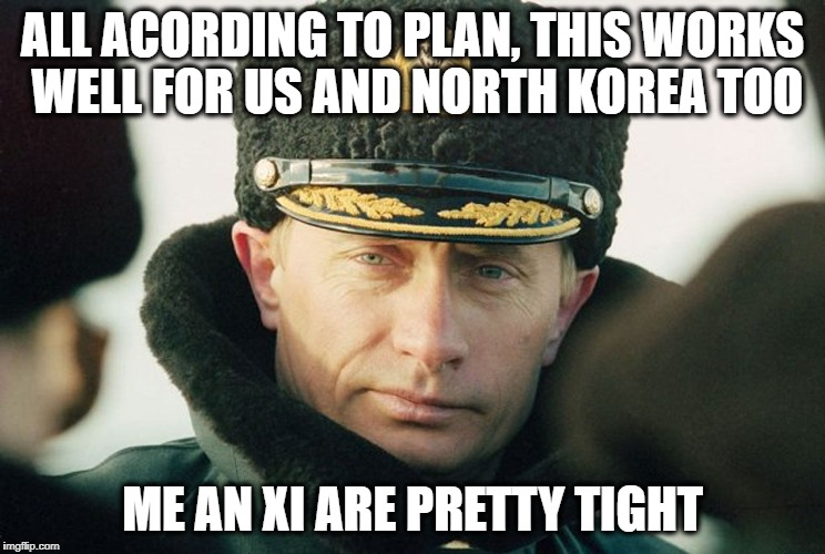 ALL ACORDING TO PLAN, THIS WORKS WELL FOR US AND NORTH KOREA TOO ME AN XI ARE PRETTY TIGHT | made w/ Imgflip meme maker