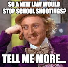Gene Wilder | SO A NEW LAW WOULD STOP SCHOOL SHOOTINGS? TELL ME MORE... | image tagged in gene wilder | made w/ Imgflip meme maker