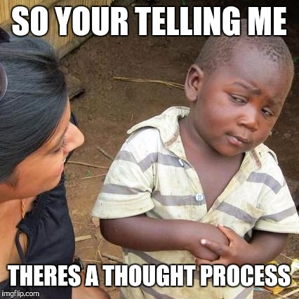 Third World Skeptical Kid Meme | SO YOUR TELLING ME THERES A THOUGHT PROCESS | image tagged in memes,third world skeptical kid | made w/ Imgflip meme maker