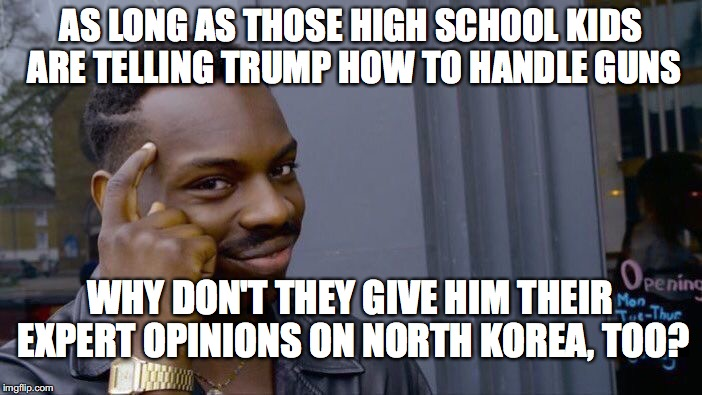 Roll Safe Think About It Meme | AS LONG AS THOSE HIGH SCHOOL KIDS ARE TELLING TRUMP HOW TO HANDLE GUNS WHY DON'T THEY GIVE HIM THEIR EXPERT OPINIONS ON NORTH KOREA, TOO? | image tagged in memes,roll safe think about it | made w/ Imgflip meme maker