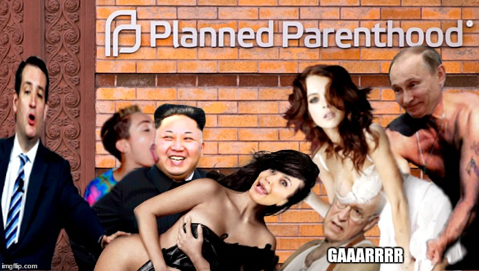 Cheney misses his shot thanks to poorly timed boob intervention..  | PHOTOSHOP COMPETITION ENTRY KIM JONG UN VISITS PLANNED PARENT HOOD... GAAARRRR | image tagged in photoshop,competition,unrealistic expectations | made w/ Imgflip meme maker