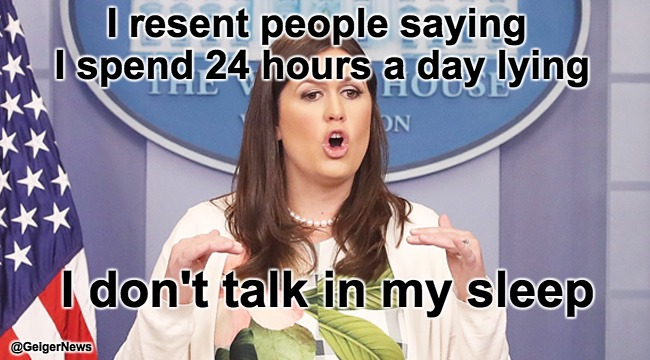 Sarah Sanders | I resent people saying I spend 24 hours a day lying I don't talk in my sleep @GeigerNews | image tagged in sarah sanders | made w/ Imgflip meme maker