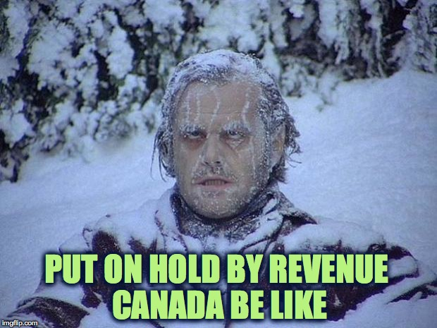 Sometimes More Than 1 Hr., If At All :-/ | PUT ON HOLD BY REVENUE CANADA BE LIKE | image tagged in memes,jack nicholson the shining snow | made w/ Imgflip meme maker