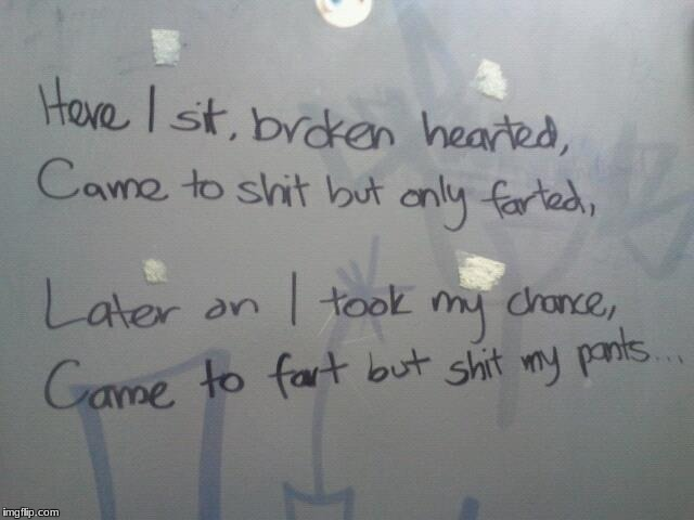I Have Recently Become A Pupil Of The Teachings Of Bathroom Poetry - Bathroom poetry
