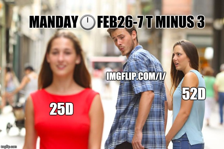 Distracted Boyfriend Meme | 25D IMGFLIP.COM/I/ 52D MANDAY | image tagged in memes,distracted boyfriend | made w/ Imgflip meme maker