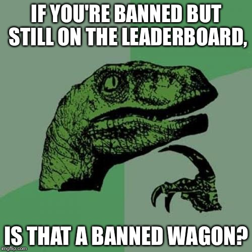 Banned wagon | IF YOU'RE BANNED BUT STILL ON THE LEADERBOARD, IS THAT A BANNED WAGON? | image tagged in memes,philosoraptor,banned,bandwagon,leader,travel ban | made w/ Imgflip meme maker
