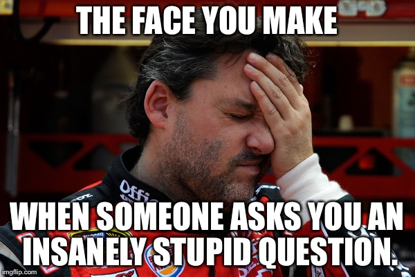 I hate stupid questions | THE FACE YOU MAKE WHEN SOMEONE ASKS YOU AN INSANELY STUPID QUESTION. | image tagged in tony stewart frustrated,memes,question rage face,stupid,report,the face you make | made w/ Imgflip meme maker