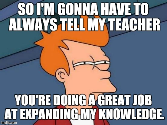 Futurama Fry Meme | SO I'M GONNA HAVE TO ALWAYS TELL MY TEACHER YOU'RE DOING A GREAT JOB AT EXPANDING MY KNOWLEDGE. | image tagged in memes,futurama fry | made w/ Imgflip meme maker