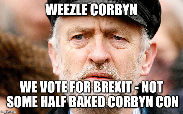 Jeremy Corbyn | WEEZLE CORBYN WE VOTE FOR BREXIT - NOT SOME HALF BAKED CORBYN CON | image tagged in jeremy corbyn | made w/ Imgflip meme maker