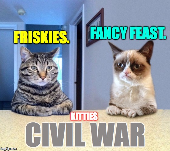Kitties Civil War!  Take a side. | FRISKIES. CIVIL WAR FANCY FEAST. KITTIES | image tagged in take a seat cat and grumpy cat review,memes,kitties civil war,take a side | made w/ Imgflip meme maker