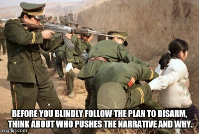 Communist execution | BEFORE YOU BLINDLY FOLLOW THE PLAN TO DISARM, THINK ABOUT WHO PUSHES THE NARRATIVE AND WHY. | image tagged in communist execution | made w/ Imgflip meme maker