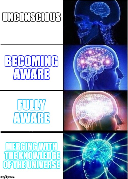 Expanding Brain Meme | UNCONSCIOUS BECOMING AWARE FULLY AWARE MERGING WITH THE KNOWLEDGE OF THE UNIVERSE | image tagged in memes,expanding brain,universal knowledge,knowledge,think about it | made w/ Imgflip meme maker