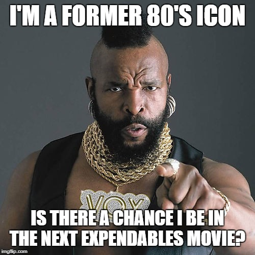 Mr T Pity The Fool | I'M A FORMER 80'S ICON IS THERE A CHANCE I BE IN THE NEXT EXPENDABLES MOVIE? | image tagged in memes,mr t pity the fool | made w/ Imgflip meme maker