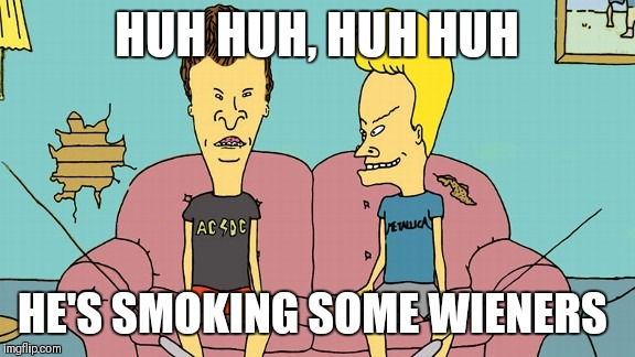 Bevis and Butthead | HUH HUH, HUH HUH HE'S SMOKING SOME WIENERS | image tagged in memes | made w/ Imgflip meme maker