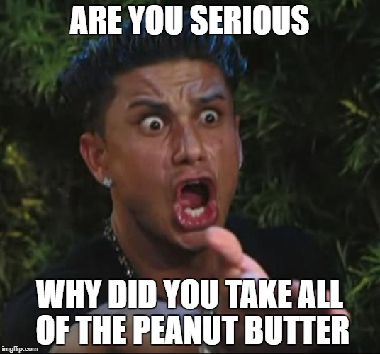 DJ Pauly D Meme | ARE YOU SERIOUS WHY DID YOU TAKE ALL OF THE PEANUT BUTTER | image tagged in memes,dj pauly d | made w/ Imgflip meme maker