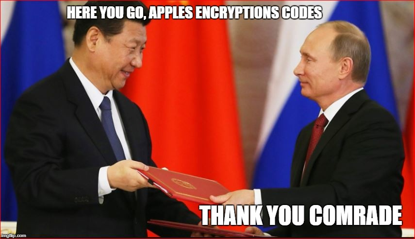 HERE YOU GO, APPLES ENCRYPTIONS CODES THANK YOU COMRADE | made w/ Imgflip meme maker