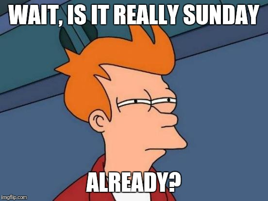 Futurama Fry Meme | WAIT, IS IT REALLY SUNDAY ALREADY? | image tagged in memes,futurama fry | made w/ Imgflip meme maker