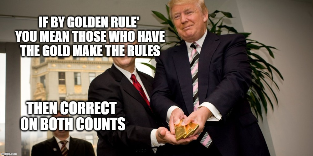IF BY GOLDEN RULE' YOU MEAN THOSE WHO HAVE THE GOLD MAKE THE RULES THEN CORRECT ON BOTH COUNTS | made w/ Imgflip meme maker