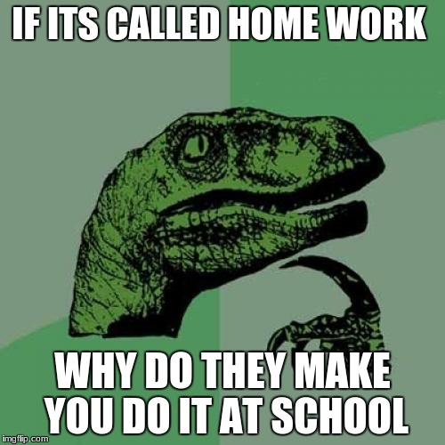 Philosoraptor Meme | IF ITS CALLED HOME WORK WHY DO THEY MAKE YOU DO IT AT SCHOOL | image tagged in memes,philosoraptor | made w/ Imgflip meme maker