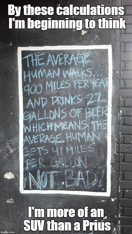 and a lot of that fuel is expensive high-octane | By these calculations I'm beginning to think I'm more of an SUV than a Prius | image tagged in memes,beer,drinking,cars,funny signs | made w/ Imgflip meme maker