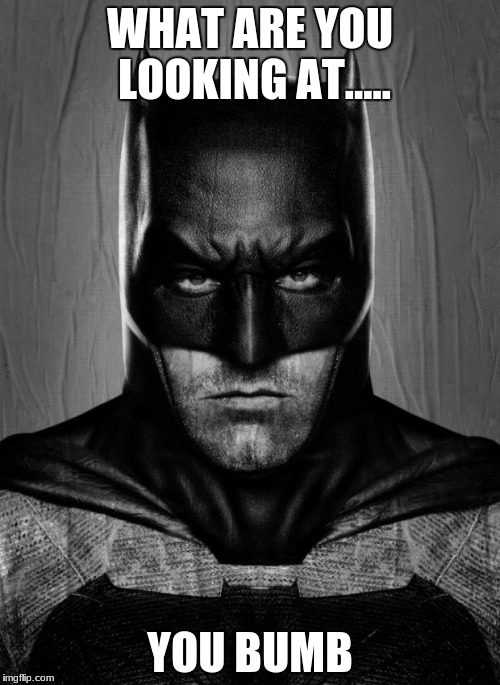 WHAT ARE YOU LOOKING AT..... YOU BUMB | image tagged in batman | made w/ Imgflip meme maker
