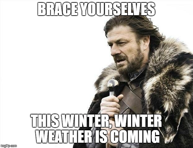 Brace Yourselves X is Coming Meme | BRACE YOURSELVES THIS WINTER, WINTER WEATHER IS COMING | image tagged in memes,brace yourselves x is coming | made w/ Imgflip meme maker