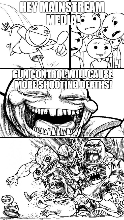 Hey Internet Meme | HEY MAINSTREAM MEDIA! GUN CONTROL WILL CAUSE MORE SHOOTING DEATHS! | image tagged in memes,hey internet | made w/ Imgflip meme maker
