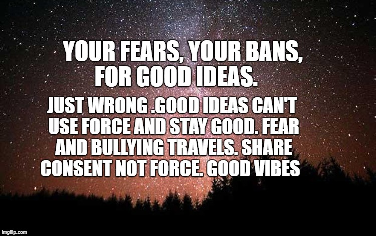 Night Sky | YOUR FEARS, YOUR BANS, FOR GOOD IDEAS. JUST WRONG .GOOD IDEAS CAN'T USE FORCE AND STAY GOOD. FEAR AND BULLYING TRAVELS. SHARE CONSENT NOT FO | image tagged in night sky | made w/ Imgflip meme maker