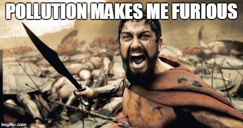 Sparta Leonidas Meme | POLLUTION MAKES ME FURIOUS | image tagged in memes,sparta leonidas | made w/ Imgflip meme maker