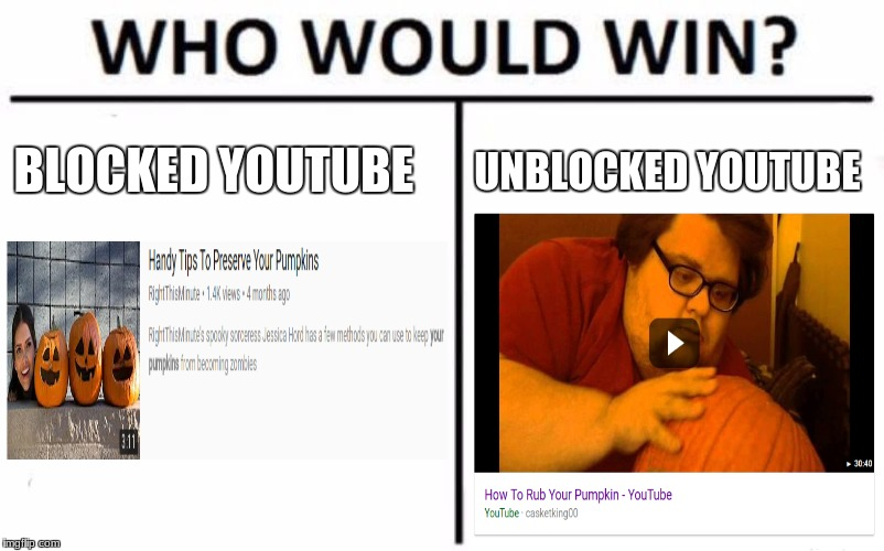Who Would Win? | BLOCKED YOUTUBE UNBLOCKED YOUTUBE | image tagged in memes,who would win | made w/ Imgflip meme maker