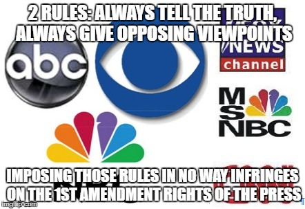 To regulate the cheerleaders of regulation | 2 RULES: ALWAYS TELL THE TRUTH, ALWAYS GIVE OPPOSING VIEWPOINTS IMPOSING THOSE RULES IN NO WAY INFRINGES ON THE 1ST AMENDMENT RIGHTS OF THE  | image tagged in fake news | made w/ Imgflip meme maker